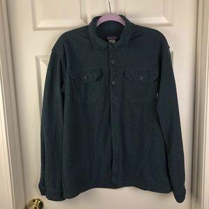 Patagonia Navy Blue Fleece Button Up Shirt Medium